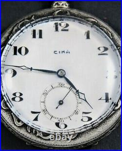 Ornate Mother of Pearl Cyma Vintage Pocket Watch By French Artist FRAINIER c1900