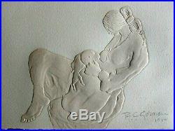 RC Gorman -Cast Paper Infant Nursing Artist Signed & dated 1984
