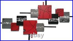 Red Black Modern Abstract Wood Metal Wall Sculpture, Metal wall art, 48x22