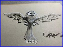 Rob Kaz Disney Artist Original 12 x 9 Black & White Sketch Birdie Bird