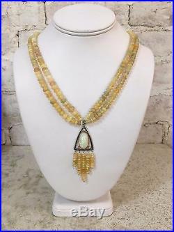 SALE! Original Artist Design Ethiopian Opal 14K White Gold & Diamond Necklace