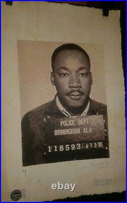 Set Of 2 Martin Luther King Mugshots Artist Proof Prints Signed Fairchild Paris