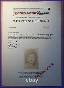 Sex Pistols Jamie Reid Queen ORIGINAL Signed Print 1997 + COA Punk Banksy PIL