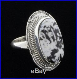 Size 8, White Buffalo Ring By Navajo Artist Tommy Secatero