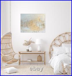 Stunning Original Textured Gold & White Canvas Painting Kerry Bowler artist