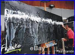 Textured Abstract Painting Art Canvas Black White 240cm x 100cm Franko Australia