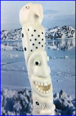 Tupilak. Inuit handicraft. Bone carving Greenland art. Artgreenland