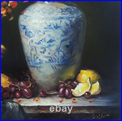 Vintage Original Blue White Vase With Fruit Realistic Still Life Oil Painting