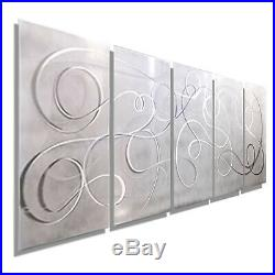 WHITE/SILVER Abstract DECORATOR Metal Wall Art Modern Decor ARTIST Jon Allen