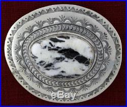 White Buffalo Belt Buckle By Navajo Artist Joe Piaso, Jr