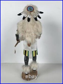 White Buffalo Kachina Katsina Doll Hand Carved Signed by Hopi Artist C. L. Nish