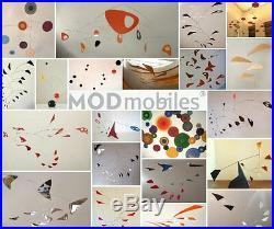 White Circles Mobile Mid-century Modern Sculpture Retro Atomic Hanging Art