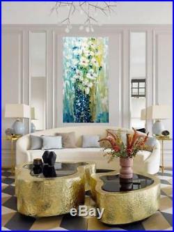 White FLOWERS Bouquet Blue Colors Original Palette Impasto Oil Painting by Luiza
