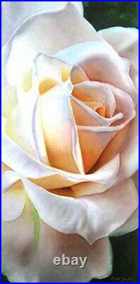 White Rose Flower Painting Original Watercolor Painting by Doris Joa